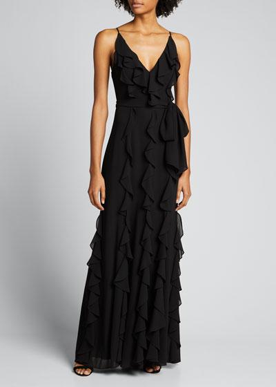 V-Neck Sleeveless Cascading Ruffle Column Gown