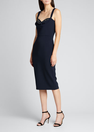 Embellished Cowl-Neck Crepe Sheath Dress