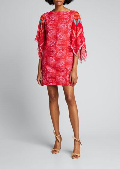 Karice Floral Print Flutter-Sleeve Dress