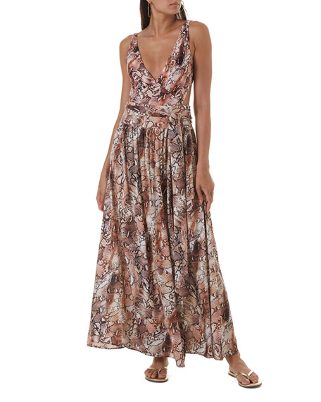 Image 1 of 1: Palm-Leaf Print Tie-Waist Maxi Skirt