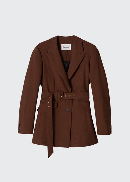 Image 1 of 1: Honor Solid Crepe Belted Jacket