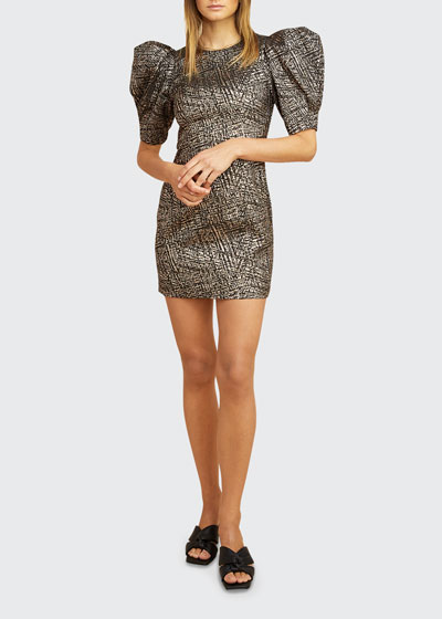 Florine Metallic Puff-Sleeve Mini Dress
