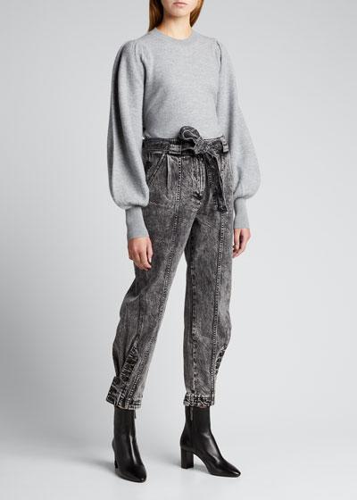 Carmen Belted Button-Cuff Jeans