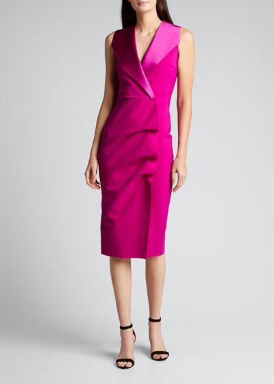 Deniz Ra Satin Collar Sheath Dress