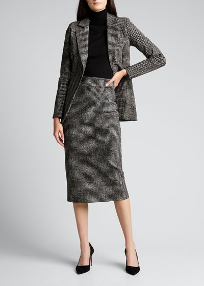 Delfina Houndstooth Printed Knee-Length Pencil Skirt