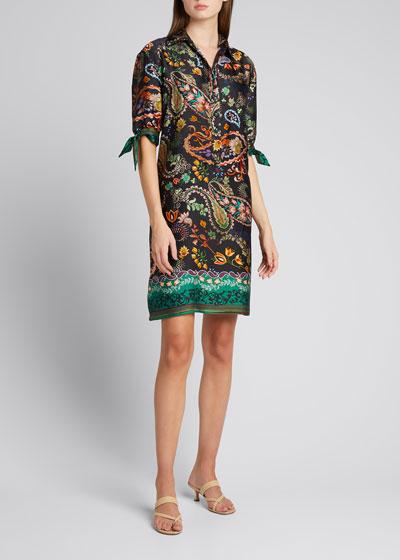 Paisley Elbow-Sleeve Shift Dress