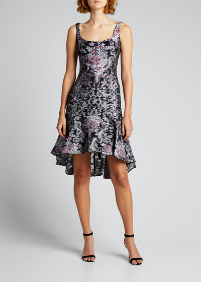 Square-Neck High-Low Damask Fil Coupe Dress