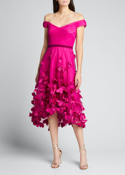 Off-the-Shoulder Draped High-Low Dress w/ 3D Flowers