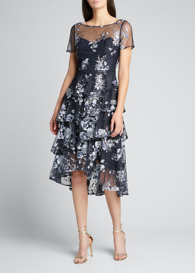 Embroidered Glitter Tulle Asymmetrical Ruffle Tiered Dress