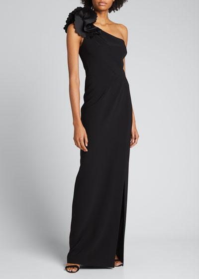 3D Applique One-Shoulder Stretch Crepe Column Gown