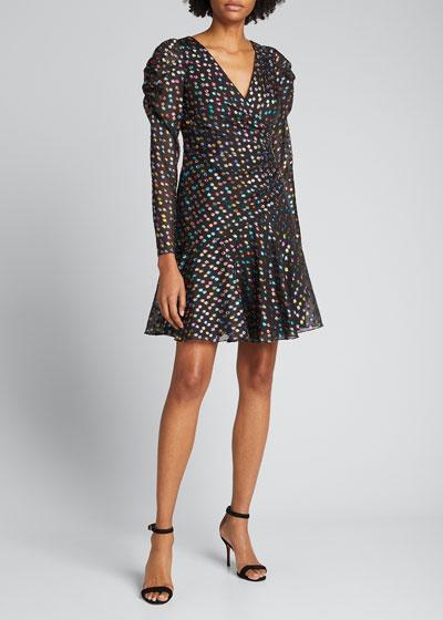 Metallic Polka Dot Puff-Sleeve Dress