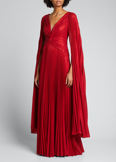 V-Neck Cape-Sleeve Pleated Lame Chiffon Gown