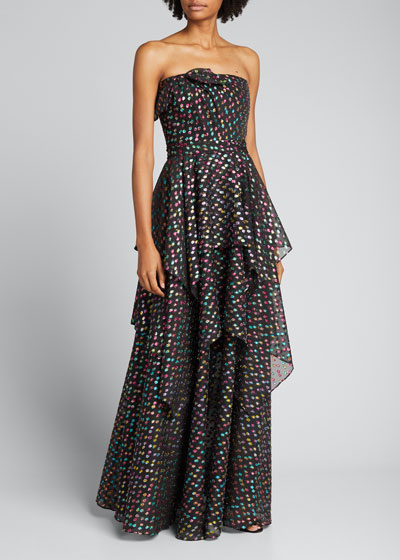 Metallic Dot Jacquard Tiered Strapless A-Line Gown