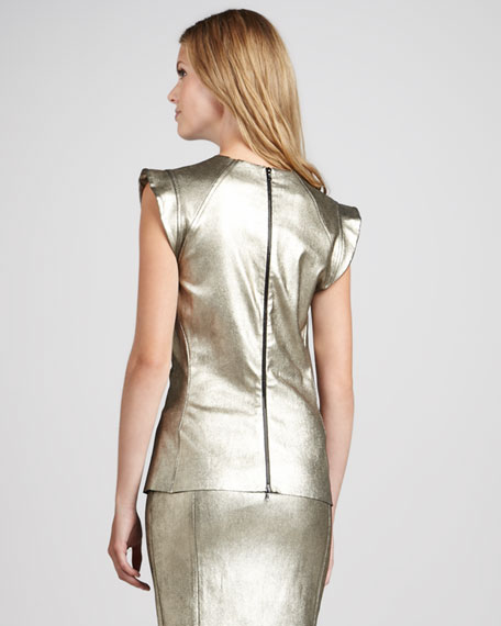 Metallic Leather Top