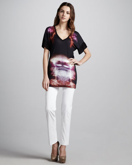 Ankle-Length Skinny Jeans, White