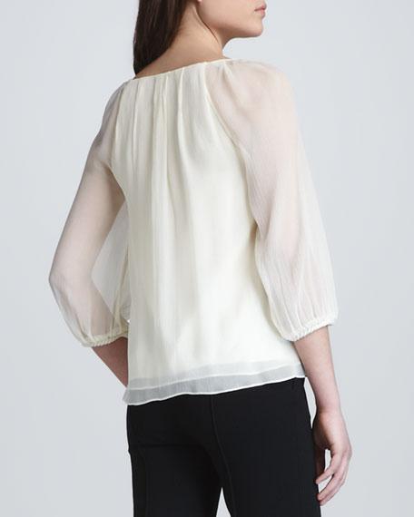 Fenobe Sheer-Sleeve Top