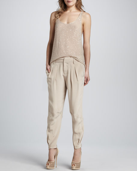 Pleated Pants with Tabs