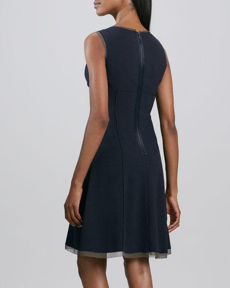 Hayden V-Neck Chiffon-Trim Dress
