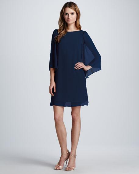 Odette Flutter-Sleeve Dress, Navy