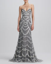 Naeem Khan Beaded Strapless Gown