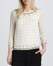 Diane von Furstenberg Sylvia Hot Fix Check Top