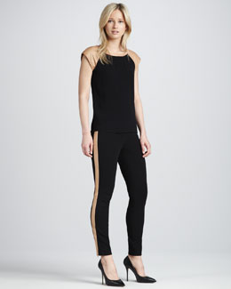 Diane von Furstenberg Leandra Leather-Stripe Leggings
