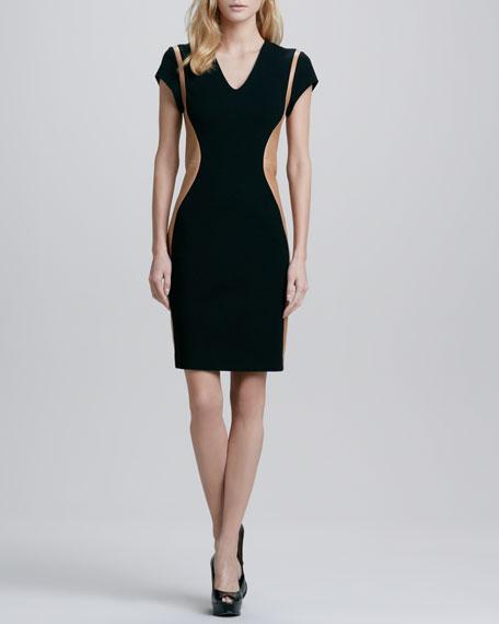 Dayton Leather-Panel Dress