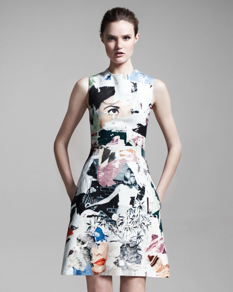 Collage-Print Sleeveless Dress, Multicolor