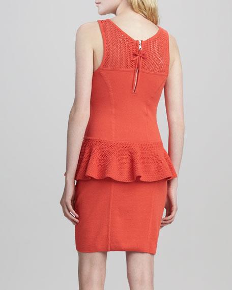 Nicole Crochet Peplum Dress, Kumquat