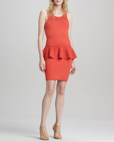 Nicole Crochet Peplum Dress, Kumquat