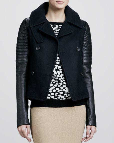 Pescod Leather-Sleeve Jacket