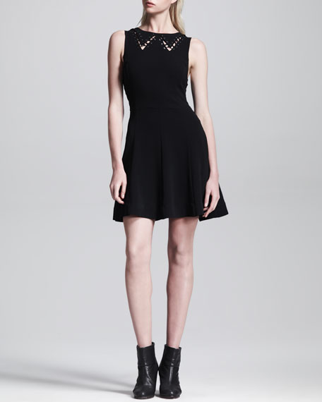 Lillian Cutout-Collar Full-Skirt Dress