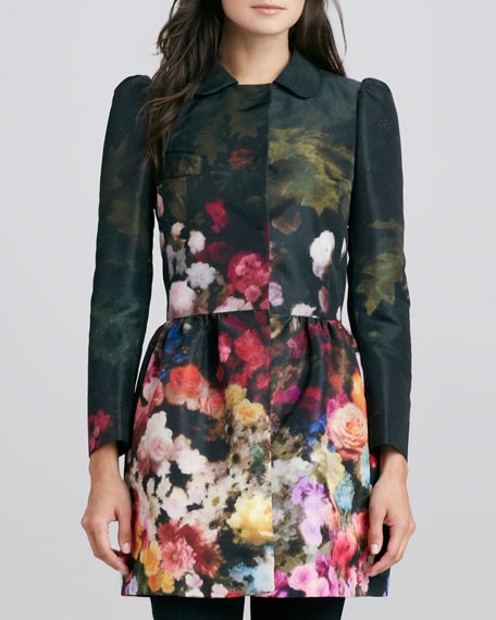 Floral-Print Snap-Front Coat