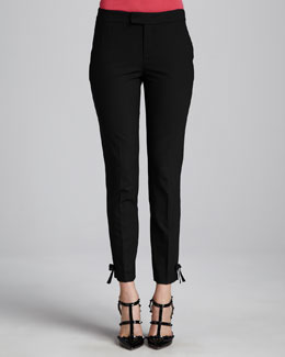 RED Valentino Slim Bow-Cuff Pants, Black