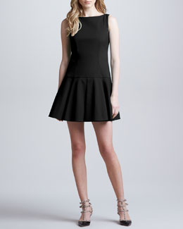 RED Valentino Dropped-Waist Dress, Black