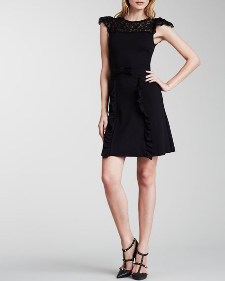 Lace-Yoke Flutter-Sleeve Dress, Black