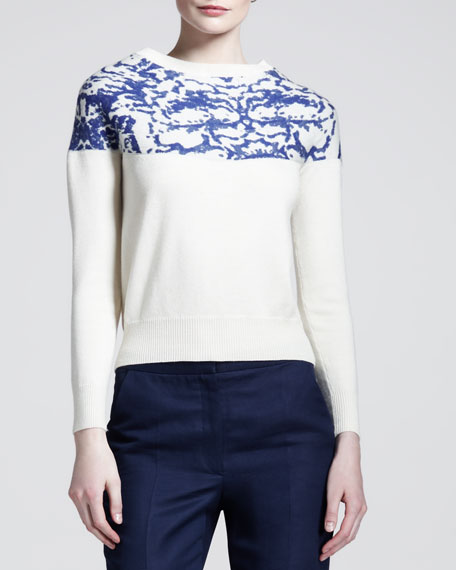 Bless Printed Wide-Neck Sweater