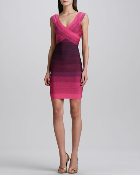 Cap-Sleeve Ombre Bandage Dress