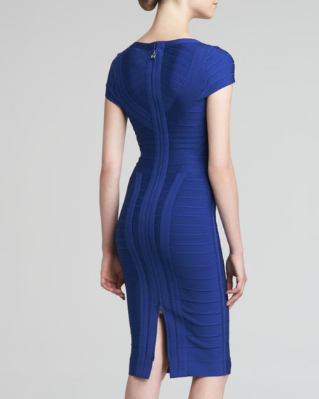 Knee-Length Bandage Dress, Cobalt