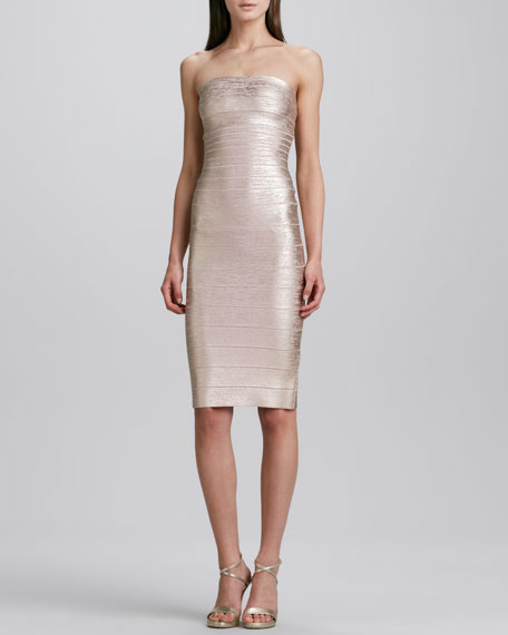 Strapless Bandage Dress, Rose Gold