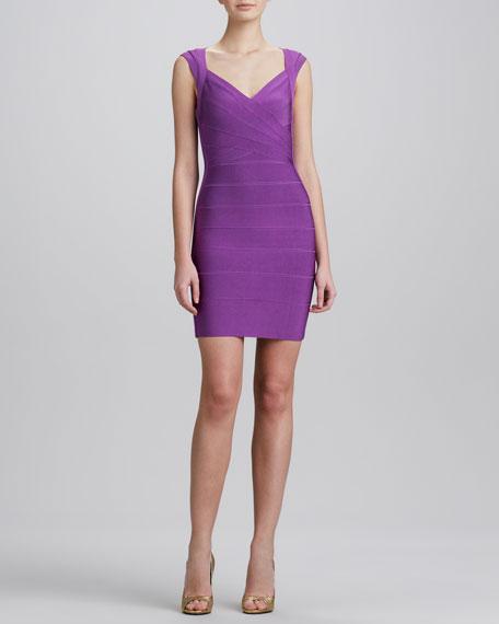 Crisscross Open-Back Bandage Dress, Bright Violet