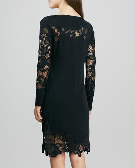 Ernestina Lace-Trim Long-Sleeve Dress