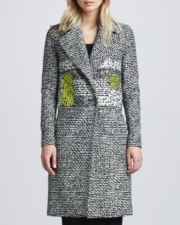 Diane von Furstenberg Nala Colorblock Tweed Coat