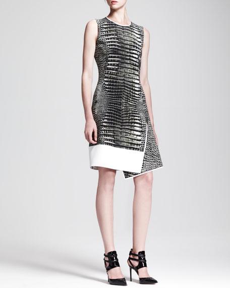 Asymmetric Alligator-Print Dress