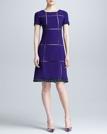 Crepe Grid Dress, Violet