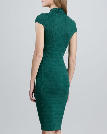 Pointelle-Knit Cap-Sleeve Dress