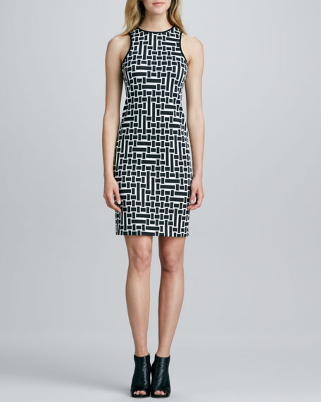 Cut-in-Shoulder Geometric Dress