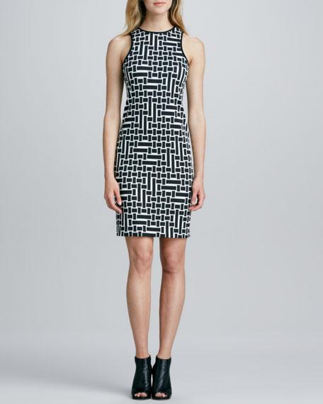 Cut-in-Shoulder Geometric Dress
