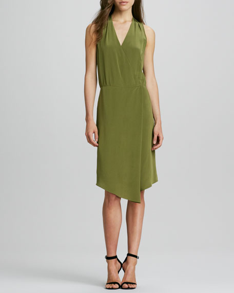 Sleeveless V-Neck Draped Faux-Wrap Dress