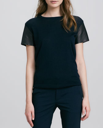 Leather-Sleeve Wool Tee, Coastal